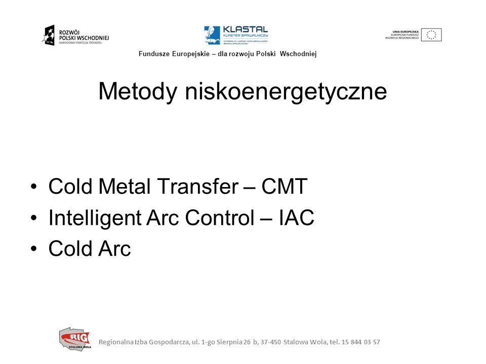 Cold Metal Transfer – CMT Intelligent Arc Control – IAC Cold Arc Metody niskoenergetyczne Regionalna Izba Gospodarcza, ul. 1-go Sierpnia 26 b, 37-450