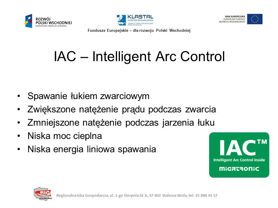 IAC – Intelligent Arc Control Spawanie łukiem zwarciowym Zwiększone natężenie prądu podczas zwarcia Zmniejszone natężenie podczas jarzenia łuku Niska