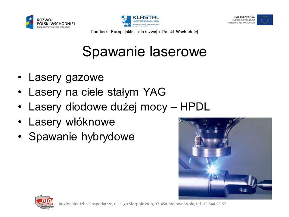 Lasery gazowe Lasery na ciele stałym YAG Lasery diodowe dużej mocy – HPDL Lasery włóknowe Spawanie hybrydowe Spawanie laserowe Regionalna Izba Gospoda
