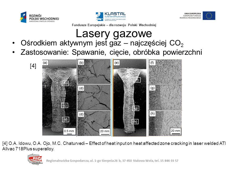 Ośrodkiem aktywnym jest gaz – najczęściej CO 2 Zastosowanie: Spawanie, cięcie, obróbka powierzchni Lasery gazowe [4] [4] O.A. Idowu, O.A. Ojo, M.C. Ch