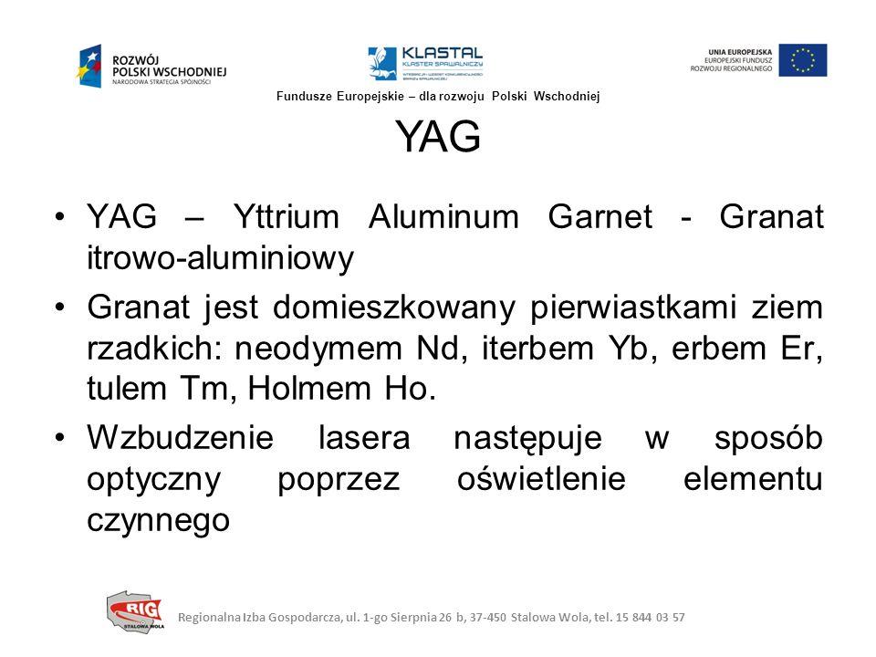 YAG – Yttrium Aluminum Garnet - Granat itrowo-aluminiowy Granat jest domieszkowany pierwiastkami ziem rzadkich: neodymem Nd, iterbem Yb, erbem Er, tul