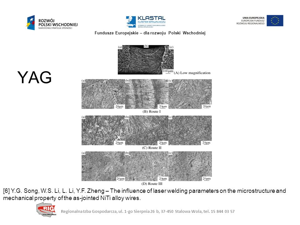 YAG [6] Y.G. Song, W.S. Li, L. Li, Y.F. Zheng – The influence of laser welding parameters on the microstructure and mechanical property of the as-join
