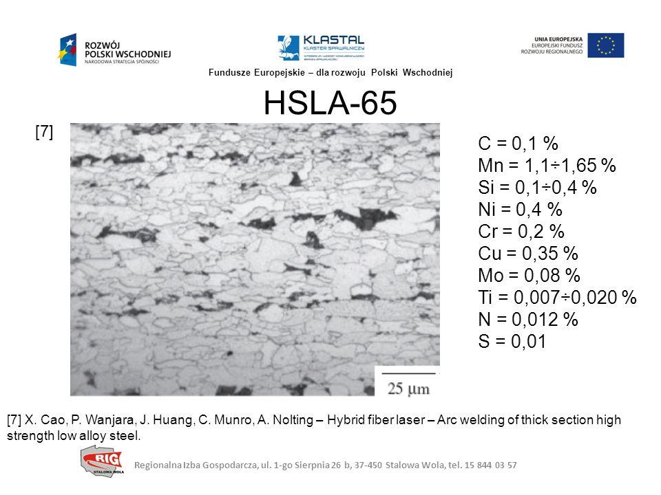 HSLA-65 Regionalna Izba Gospodarcza, ul. 1-go Sierpnia 26 b, 37-450 Stalowa Wola, tel. 15 844 03 57 Fundusze Europejskie – dla rozwoju Polski Wschodni