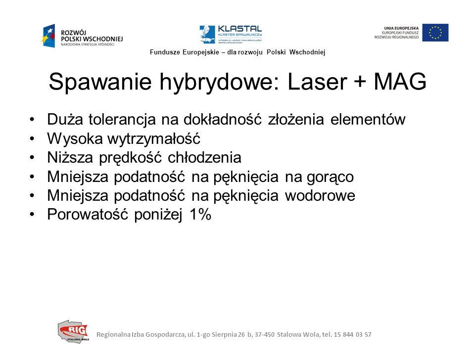 Spawanie hybrydowe: Laser + MAG Regionalna Izba Gospodarcza, ul. 1-go Sierpnia 26 b, 37-450 Stalowa Wola, tel. 15 844 03 57 Fundusze Europejskie – dla