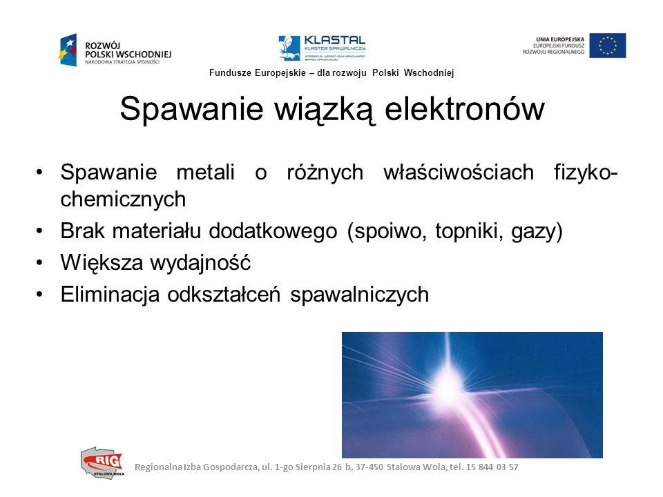 Spawanie metali o różnych właściwościach fizyko- chemicznych Brak materiału dodatkowego (spoiwo, topniki, gazy) Większa wydajność Eliminacja odkształc