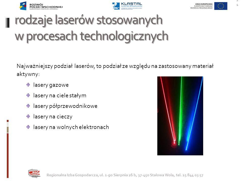 rodzaje laserów stosowanych w procesach technologicznych Najważniejszy podział laserów, to podział ze względu na zastosowany materiał aktywny: lasery