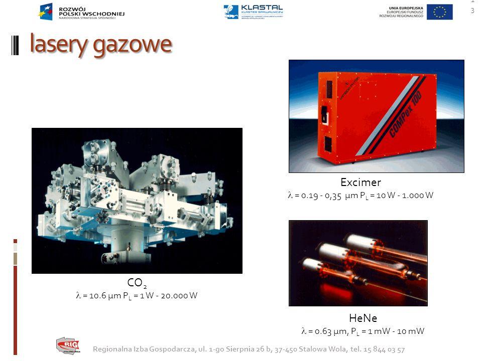lasery gazowe 13 Regionalna Izba Gospodarcza, ul. 1-go Sierpnia 26 b, 37-450 Stalowa Wola, tel. 15 844 03 57 HeNe = 0.63 µm, P L = 1 mW - 10 mW CO 2 =