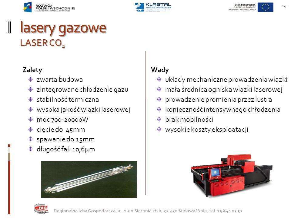 lasery gazowe LASER CO 2 Wady układy mechaniczne prowadzenia wiązki mała średnica ogniska wiązki laserowej prowadzenie promienia przez lustra konieczn