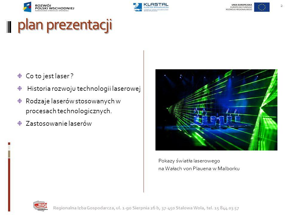 inne obszary zastosowań lasera TECHNOLOGIA BLU RAY 43 Regionalna Izba Gospodarcza, ul.