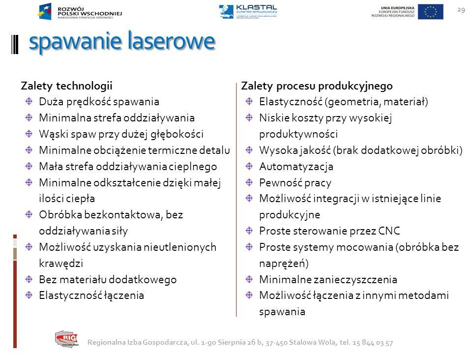 spawanie laserowe Zalety procesu produkcyjnego Elastyczność (geometria, materiał) Niskie koszty przy wysokiej produktywności Wysoka jakość (brak dodat