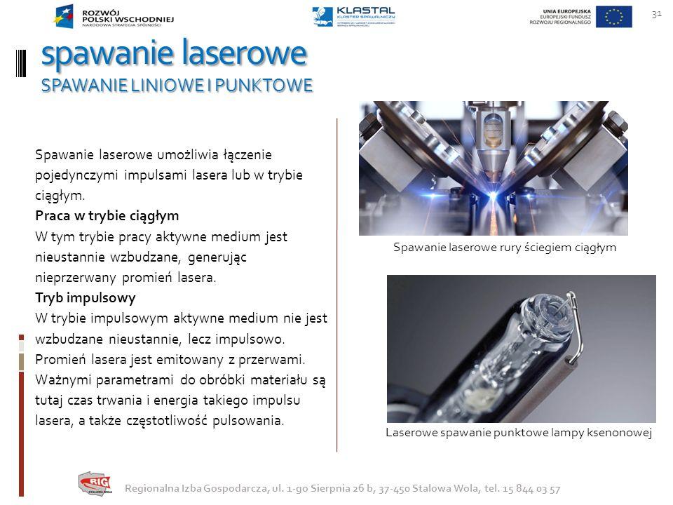 spawanie laserowe SPAWANIE LINIOWE I PUNKTOWE 31 Regionalna Izba Gospodarcza, ul. 1-go Sierpnia 26 b, 37-450 Stalowa Wola, tel. 15 844 03 57 Spawanie