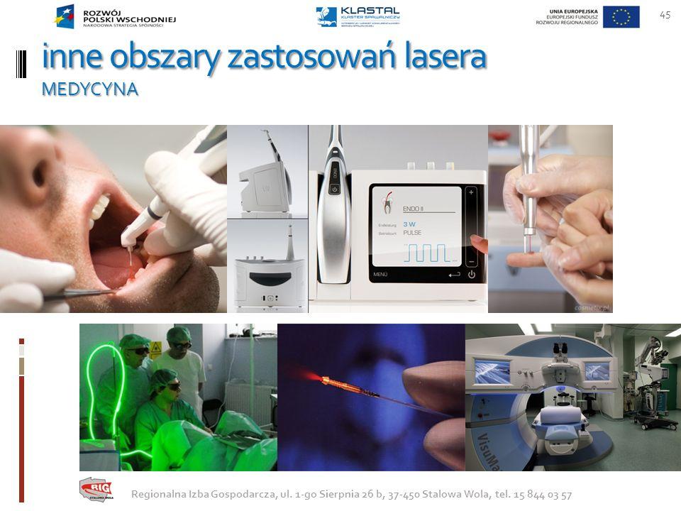 inne obszary zastosowań lasera MEDYCYNA 45 Regionalna Izba Gospodarcza, ul. 1-go Sierpnia 26 b, 37-450 Stalowa Wola, tel. 15 844 03 57