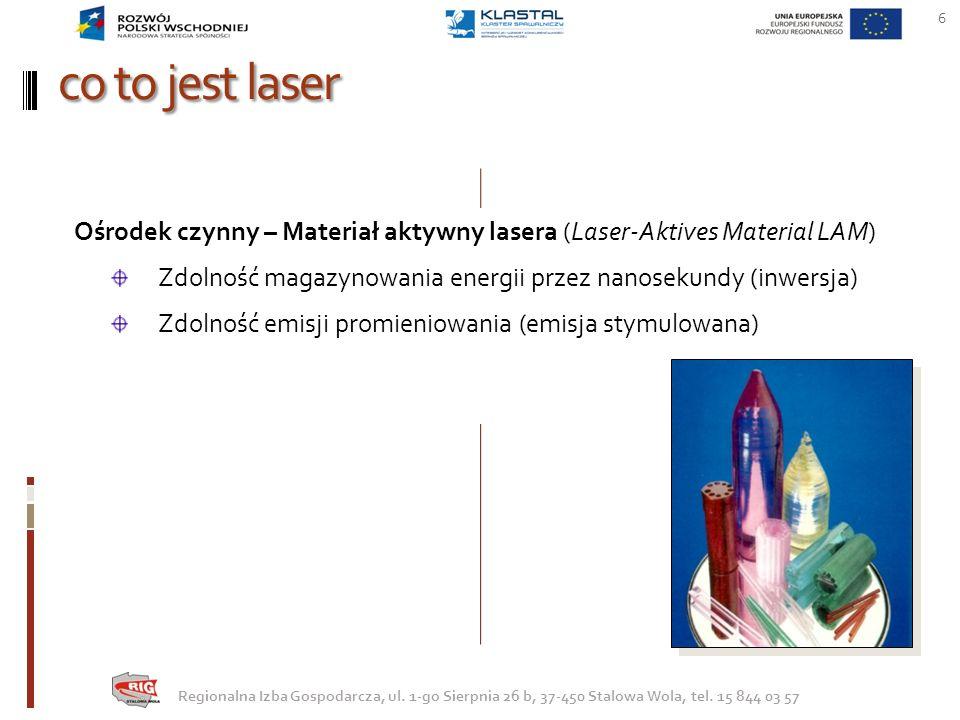 co to jest laser 6 Regionalna Izba Gospodarcza, ul. 1-go Sierpnia 26 b, 37-450 Stalowa Wola, tel. 15 844 03 57 Ośrodek czynny – Materiał aktywny laser