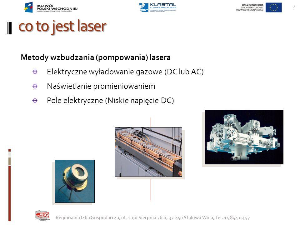 co to jest laser 7 Regionalna Izba Gospodarcza, ul. 1-go Sierpnia 26 b, 37-450 Stalowa Wola, tel. 15 844 03 57 Metody wzbudzania (pompowania) lasera E
