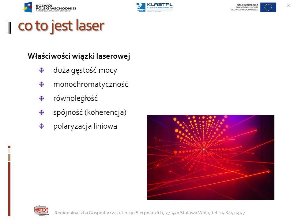 co to jest laser 8 Regionalna Izba Gospodarcza, ul. 1-go Sierpnia 26 b, 37-450 Stalowa Wola, tel. 15 844 03 57 Właściwości wiązki laserowej duża gęsto