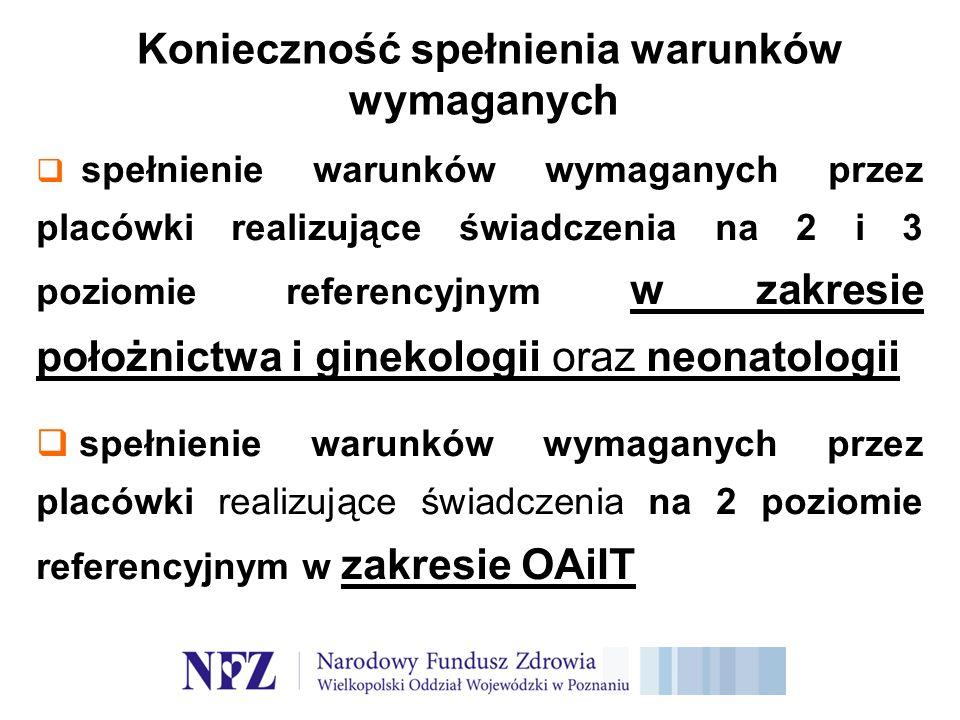 Konieczność spełnienia warunków wymaganych spełnienie warunków wymaganych przez placówki realizujące świadczenia na 2 i 3 poziomie referencyjnym w zakresie położnictwa i ginekologii oraz neonatologii spełnienie warunków wymaganych przez placówki realizujące świadczenia na 2 poziomie referencyjnym w zakresie OAiIT