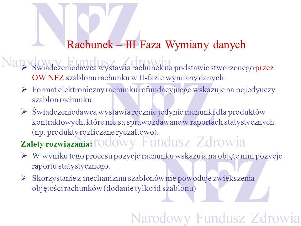 Świadczeniodawca wystawia rachunek na podstawie stworzonego przez OW NFZ szablonu rachunku w II-fazie wymiany danych. Format elektroniczny rachunku re