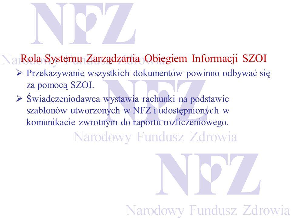 Rola Systemu Zarządzania Obiegiem Informacji SZOI Przekazywanie wszystkich dokumentów powinno odbywać się za pomocą SZOI. Świadczeniodawca wystawia ra