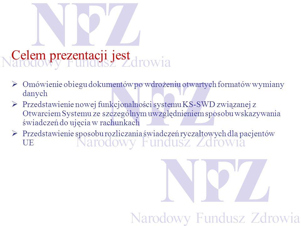 Komunikaty występujące w otwartym formacie wymiany danych pomiędzy świadczeniodawcą a OW NFZ Komunikat z inf.dot.umowy/aneksu (plik UMX) Raport statystyczny (plik RSX) Komunikat zwrotny do raportu statystycznego (plik RSZ) Raport rozliczeniowy (plik RRX) Raport zwrotny do raportu rozliczeniowego (plik RRZ)