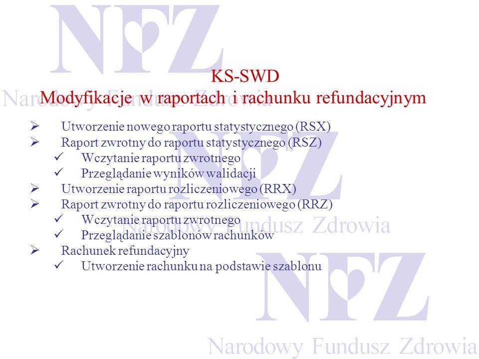 KS-SWD Modyfikacje w raportach i rachunku refundacyjnym Utworzenie nowego raportu statystycznego (RSX) Raport zwrotny do raportu statystycznego (RSZ) Wczytanie raportu zwrotnego Przeglądanie wyników walidacji Utworzenie raportu rozliczeniowego (RRX) Raport zwrotny do raportu rozliczeniowego (RRZ) Wczytanie raportu zwrotnego Przeglądanie szablonów rachunków Rachunek refundacyjny Utworzenie rachunku na podstawie szablonu