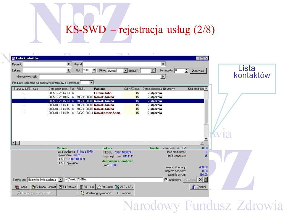 KS-SWD – rejestracja usług (2/8) Lista kontaktów