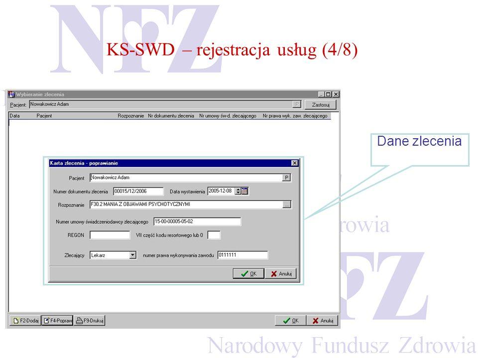 KS-SWD – rejestracja usług (4/8) Dane zlecenia