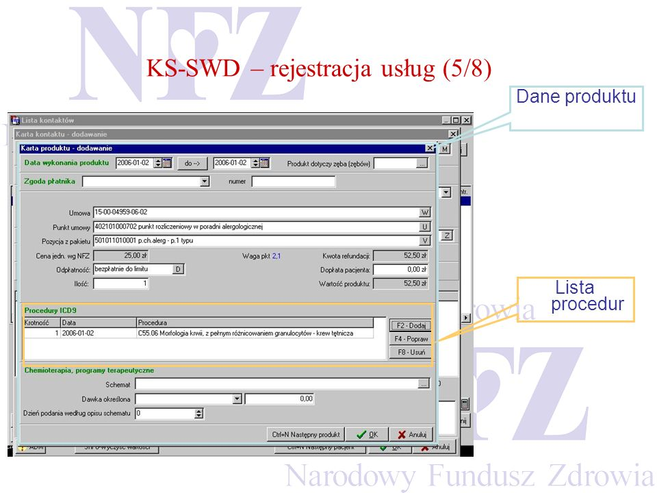 Lista procedur Dane produktu KS-SWD – rejestracja usług (5/8)