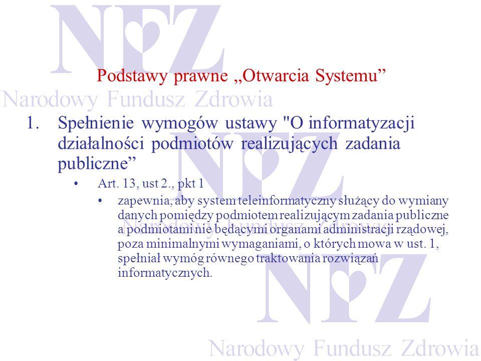 Podstawy prawne Otwarcia Systemu 1.Spełnienie wymogów ustawy
