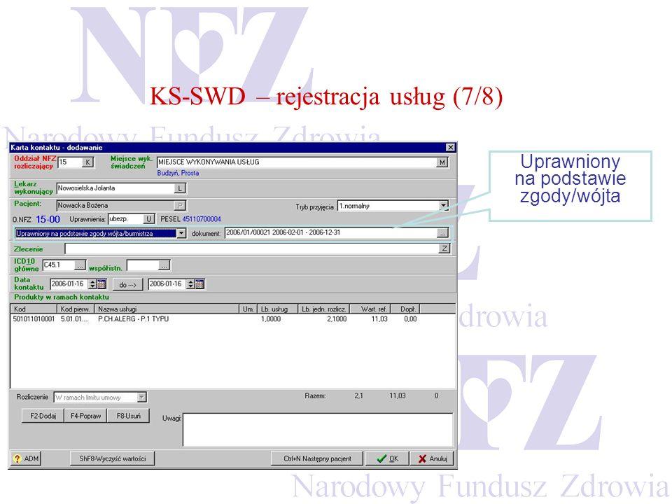 KS-SWD – rejestracja usług (7/8) Uprawniony na podstawie zgody/wójta