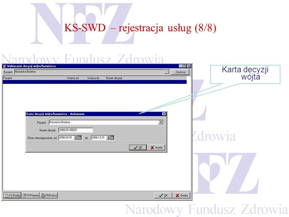 KS-SWD – rejestracja usług (8/8) Karta decyzji wójta