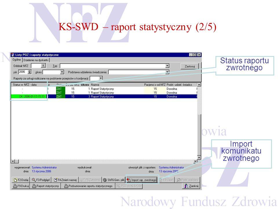 KS-SWD – raport statystyczny (2/5) Status raportu zwrotnego Import komunikatu zwrotnego