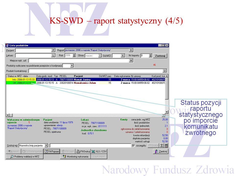 KS-SWD – raport statystyczny (4/5) Status pozycji raportu statystycznego po imporcie komunikatu zwrotnego