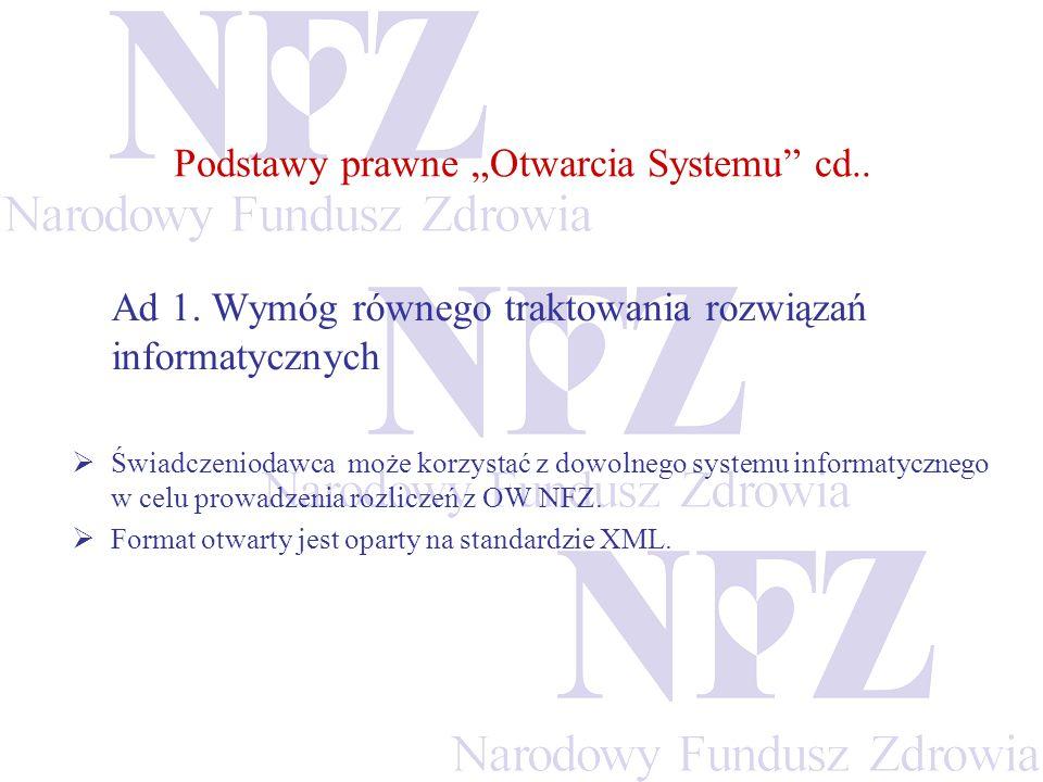 Ad 1. Wymóg równego traktowania rozwiązań informatycznych Świadczeniodawca może korzystać z dowolnego systemu informatycznego w celu prowadzenia rozli