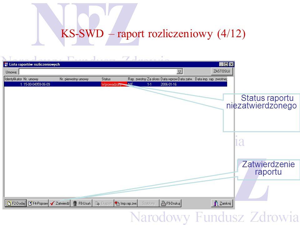 KS-SWD – raport rozliczeniowy (4/12) Status raportu niezatwierdzonego Zatwierdzenie raportu