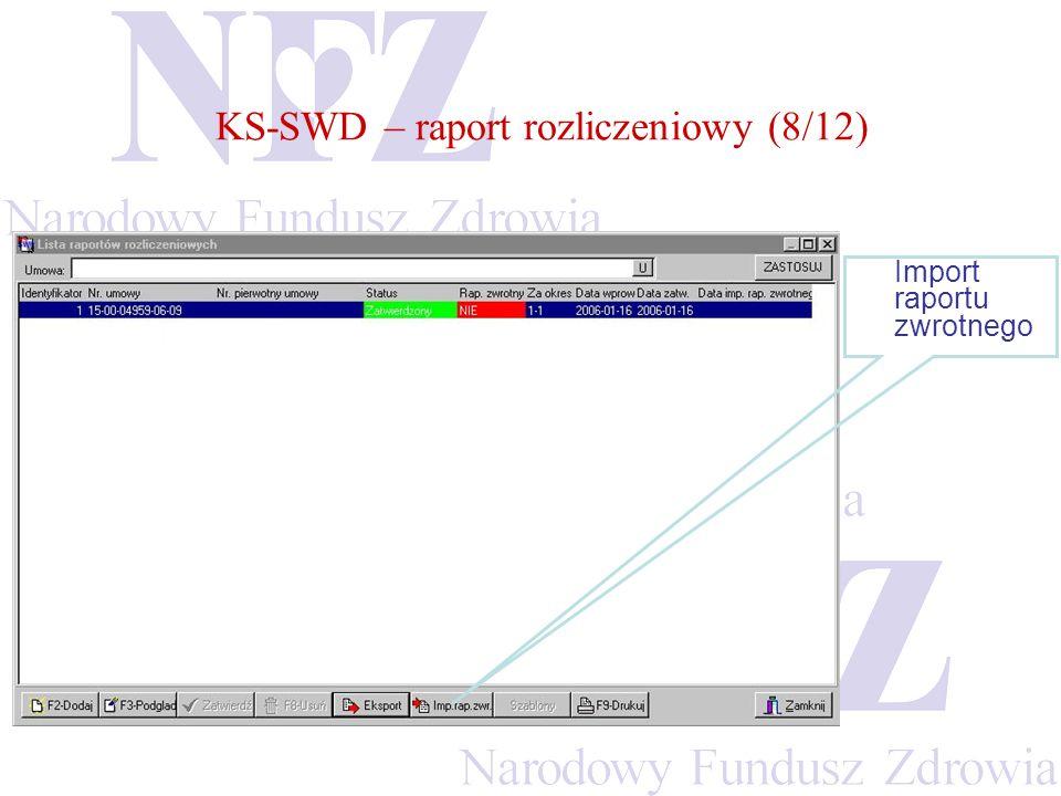 KS-SWD – raport rozliczeniowy (8/12) Import raportu zwrotnego
