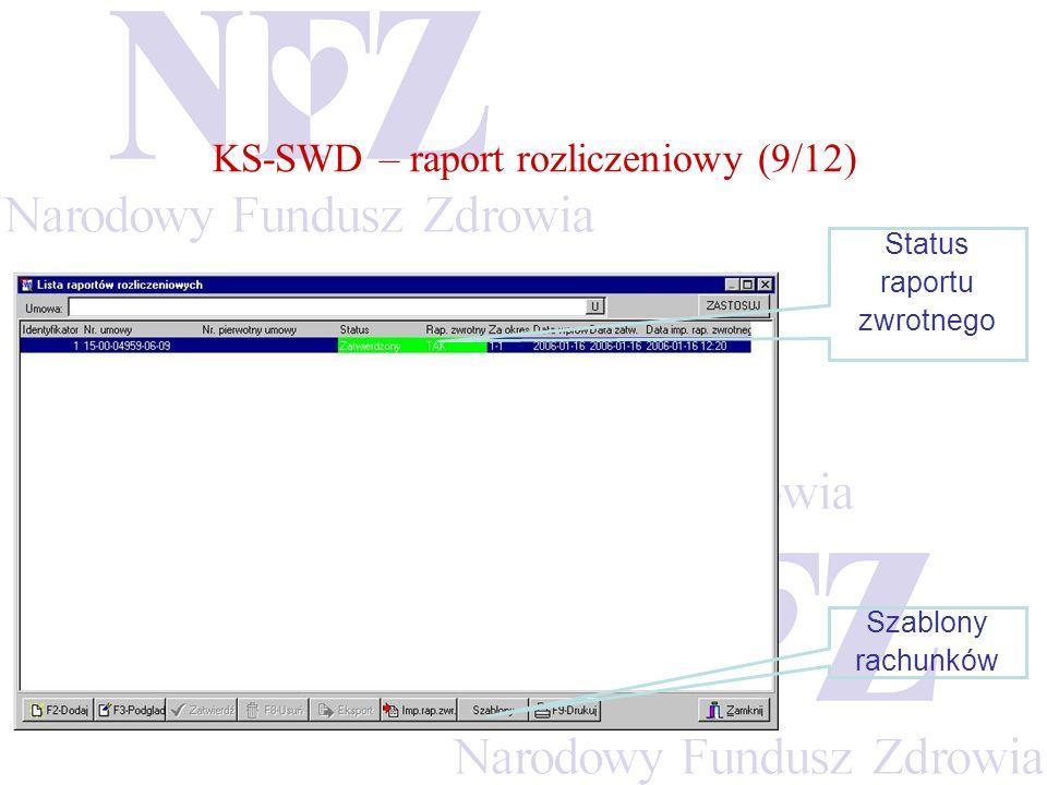 KS-SWD – raport rozliczeniowy (9/12) Status raportu zwrotnego Szablony rachunków