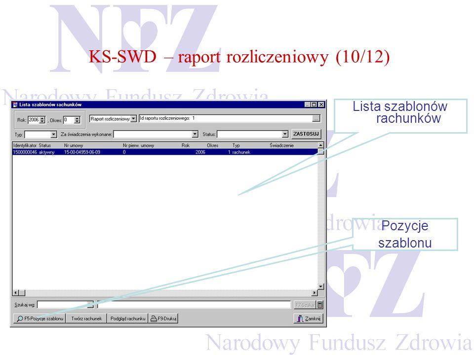 KS-SWD – raport rozliczeniowy (10/12) Lista szablonów rachunków Pozycje szablonu