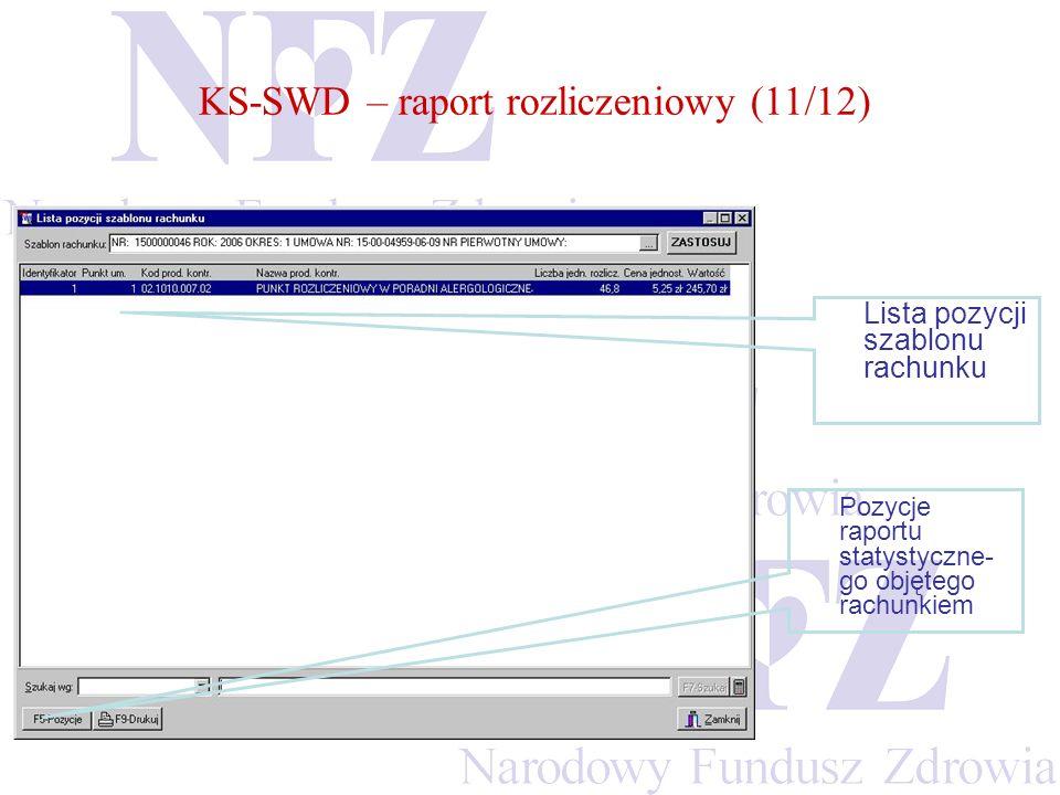 KS-SWD – raport rozliczeniowy (11/12) Lista pozycji szablonu rachunku Pozycje raportu statystyczne- go objętego rachunkiem