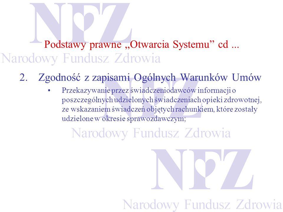 Podstawy prawne Otwarcia Systemu cd... 2.Zgodność z zapisami Ogólnych Warunków Umów Przekazywanie przez świadczeniodawców informacji o poszczególnych