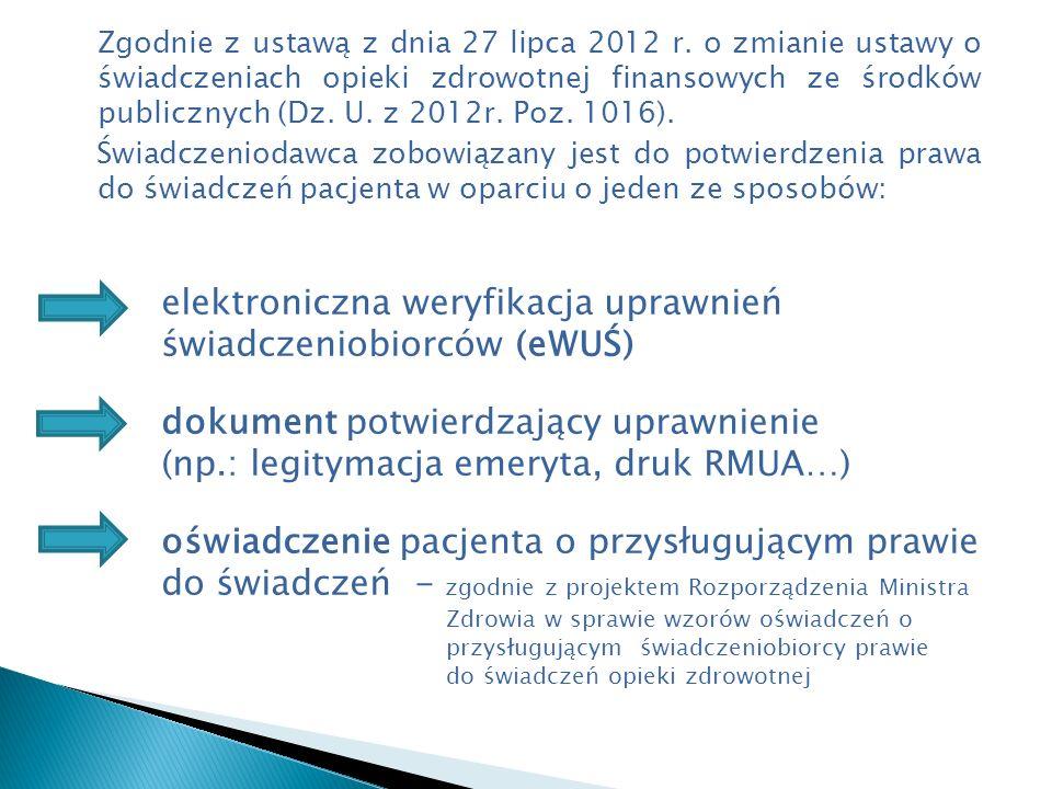PACJENT Dokument tożsamości (dziecko do 18 roku życia - legitymacja szkolna) ZIELONY EKRAN 1)Dokument ubezpieczenia 2)Oświadczenie FINANSOWANIE ŚWIADCZEŃ PRZEZ NFZ DALSZA WERYFIKACJA W NFZ POTWIERDZENIE PRAWA DO ŚWIADCZEŃ - ZAKWESTIONOWANIE PRAWA DO ŚWIADCZEŃ - ODZYSKANIE KOSZTÓW ŚWIADCZENIA OD PACJENTA CZERWONY EKRAN