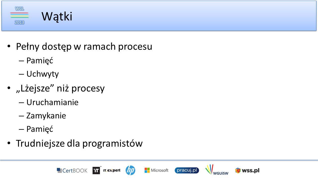 Pełny dostęp w ramach procesu – Pamięć – Uchwyty Lżejsze niż procesy – Uruchamianie – Zamykanie – Pamięć Trudniejsze dla programistów Wątki