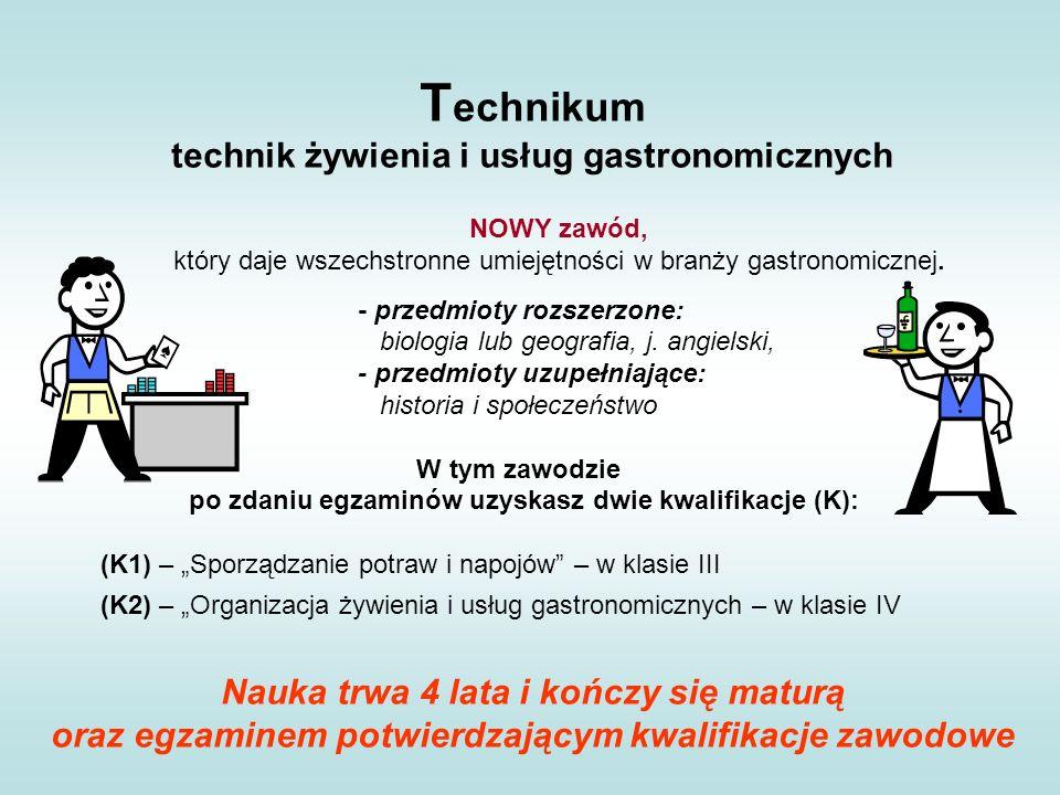 T echnikum technik żywienia i usług gastronomicznych NOWY zawód, który daje wszechstronne umiejętności w branży gastronomicznej. - przedmioty rozszerz