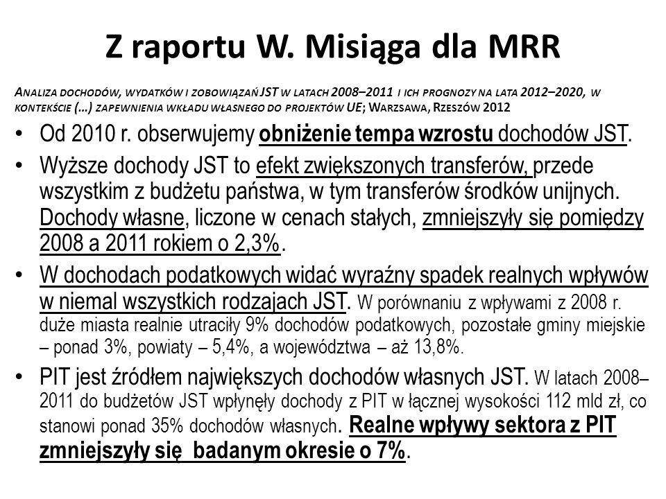 Z raportu W. Misiąga dla MRR A NALIZA DOCHODÓW, WYDATKÓW I ZOBOWIĄZAŃ JST W LATACH 2008–2011 I ICH PROGNOZY NA LATA 2012–2020, W KONTEKŚCIE (…) ZAPEWN