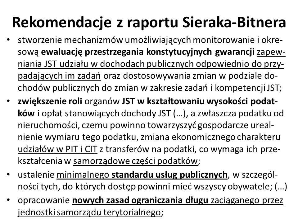 Rekomendacje z raportu Sieraka-Bitnera stworzenie mechanizmów umożliwiających monitorowanie i okre- sową ewaluację przestrzegania konstytucyjnych gwar