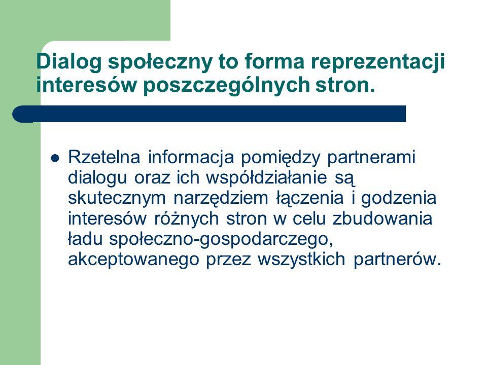 Dialog społeczny to forma reprezentacji interesów poszczególnych stron. Rzetelna informacja pomiędzy partnerami dialogu oraz ich współdziałanie są sku