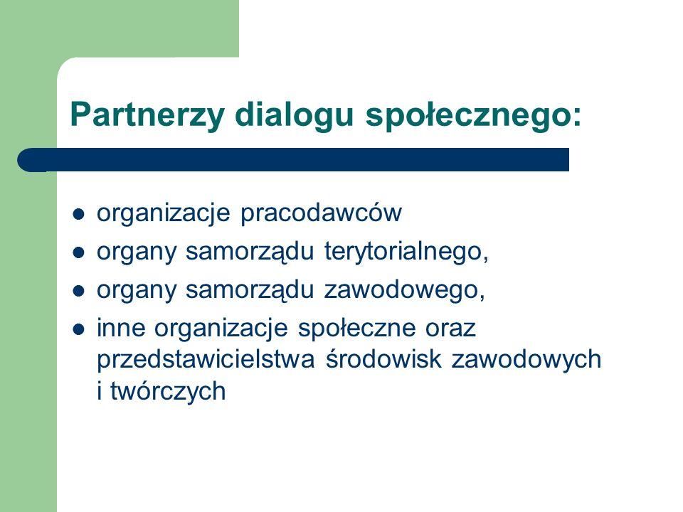 Partnerzy dialogu społecznego: organizacje pracodawców organy samorządu terytorialnego, organy samorządu zawodowego, inne organizacje społeczne oraz przedstawicielstwa środowisk zawodowych i twórczych