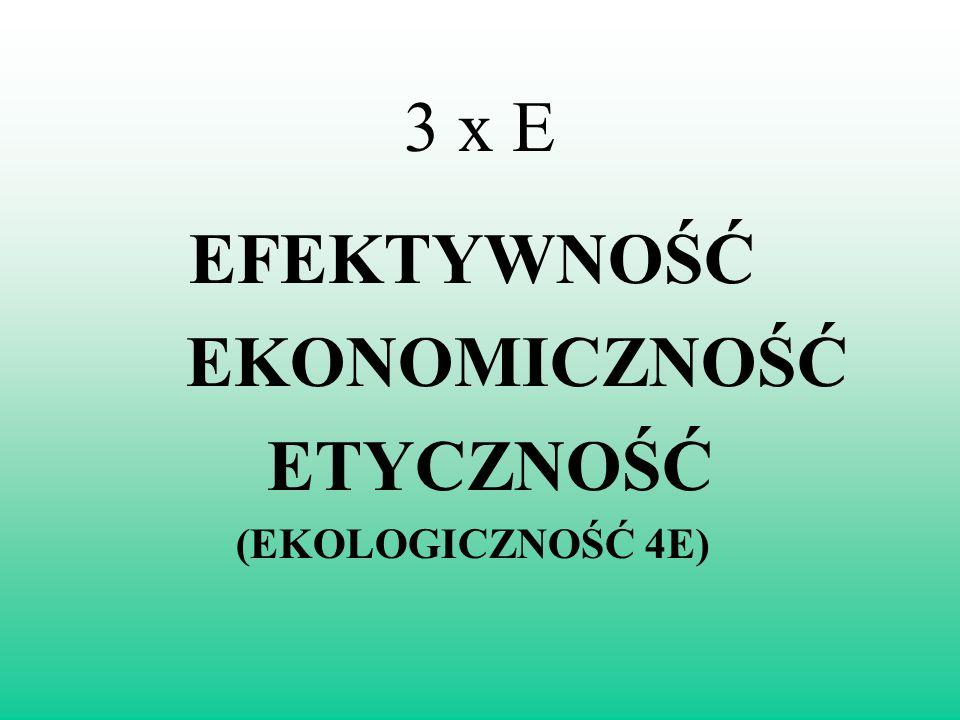 3 x E EFEKTYWNOŚĆ EKONOMICZNOŚĆ ETYCZNOŚĆ (EKOLOGICZNOŚĆ 4E)