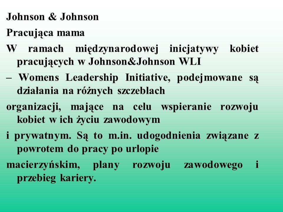 Johnson & Johnson Pracująca mama W ramach międzynarodowej inicjatywy kobiet pracujących w Johnson&Johnson WLI – Womens Leadership Initiative, podejmowane są działania na różnych szczeblach organizacji, mające na celu wspieranie rozwoju kobiet w ich życiu zawodowym i prywatnym.