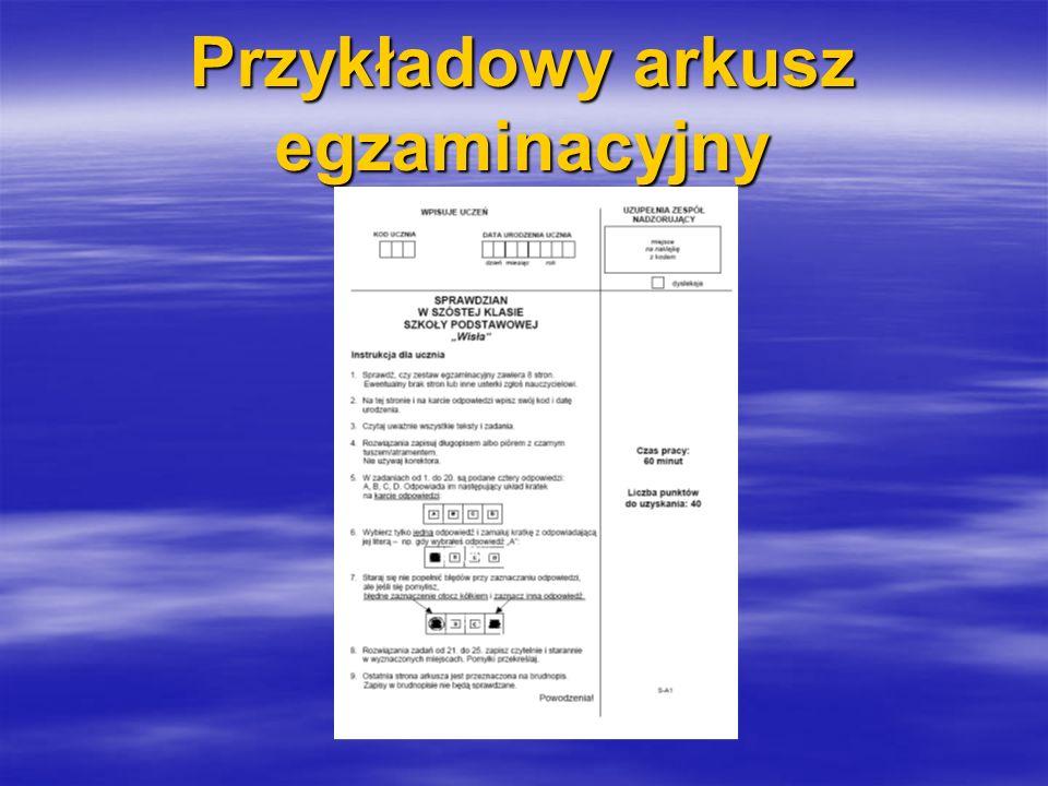 Przykładowy arkusz egzaminacyjny