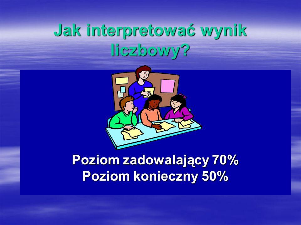 Jak interpretować wynik liczbowy Poziom zadowalający 70% Poziom konieczny 50%